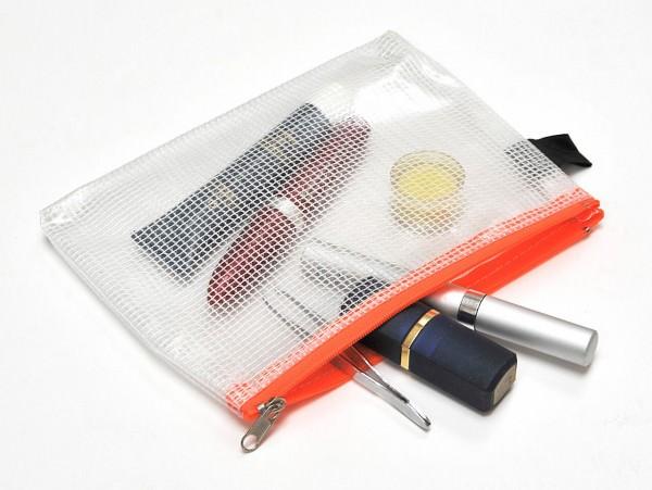 Kleinkram-Beutel A6, Handschlaufe, Metall-Reissverschluss orange