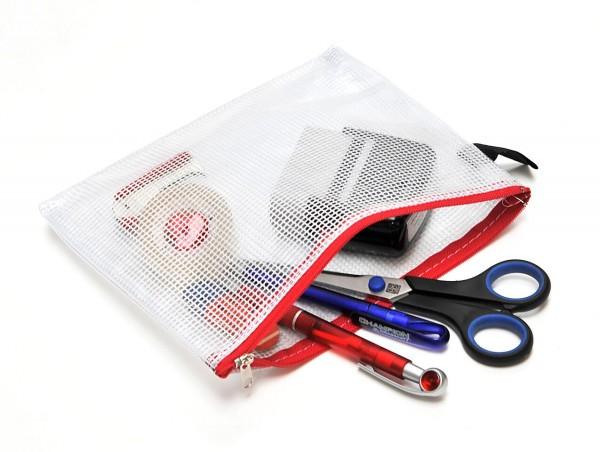 Kleinkram-Beutel B6, Handschlaufe, Metall-Reissverschluss rot